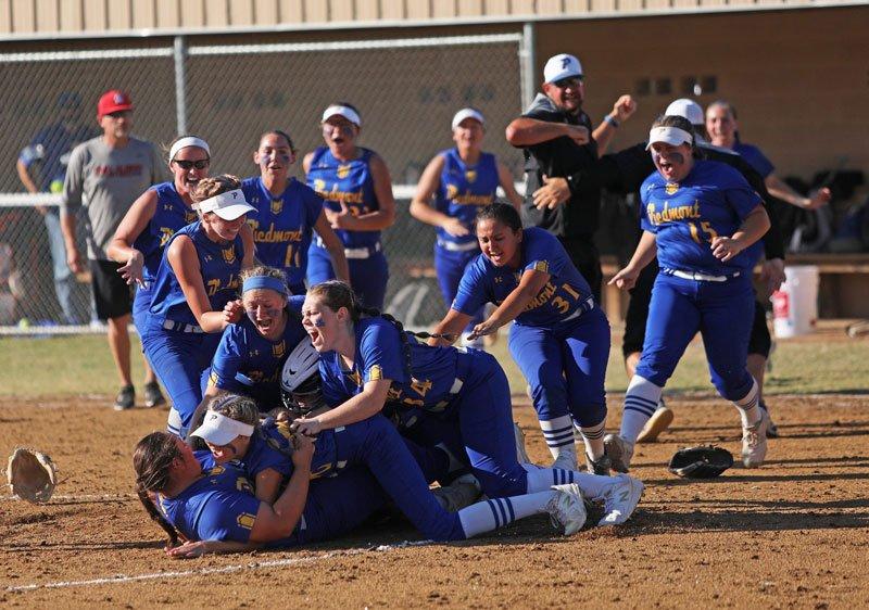 Piedmont Wildcat Softball Team Celebrate